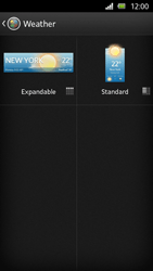 Sony Xperia U - Getting started - Installing widgets and applications on your start screen - Step 6