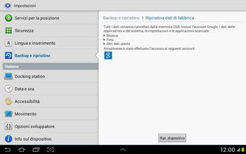 Samsung Galaxy Tab 2 10.1 - Dispositivo - Ripristino delle impostazioni originali - Fase 7
