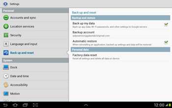 Samsung Galaxy Tab 2 10.1 - Mobile phone - Resetting to factory settings - Step 5
