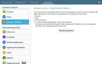 Samsung T535 Galaxy Tab 4 10.1 - Dispositivo - Ripristino delle impostazioni originali - Fase 8
