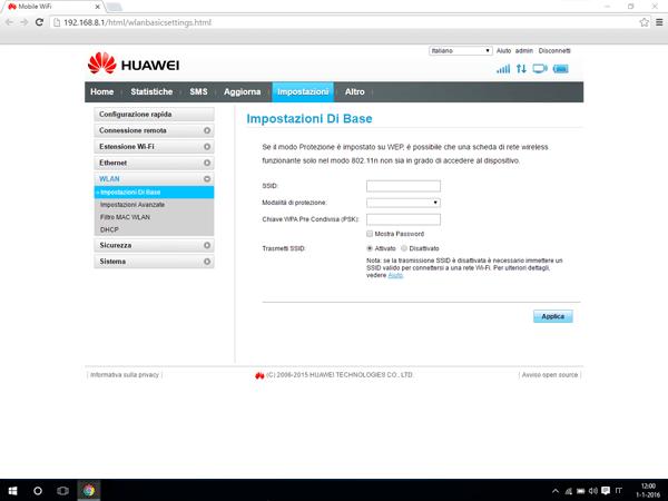 Huawei E5770 - Impostazioni - Modificare nome della rete e password - Fase 7