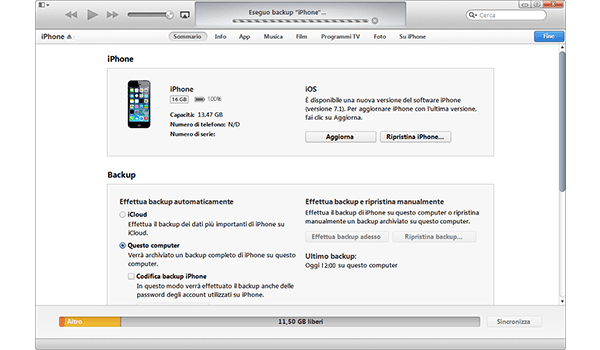Apple iPhone 5 iOS 7 - Software - Come eseguire un backup del dispositivo - Fase 6