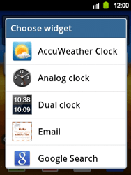 Samsung Galaxy Y - Getting started - Installing widgets and applications on your start screen - Step 4