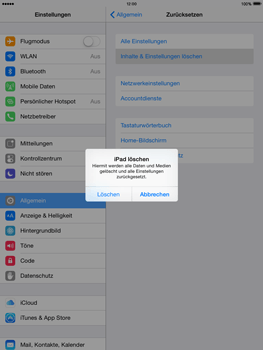 Apple iPad mini iOS 8 - Gerät - Zurücksetzen auf die Werkseinstellungen - Schritt 7