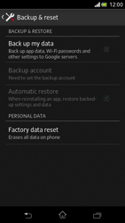 Sony Xperia V - Mobile phone - Resetting to factory settings - Step 5