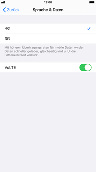 Apple iPhone 7 Plus - iOS 14 - Netzwerk - So aktivieren Sie eine 4G-Verbindung - Schritt 7