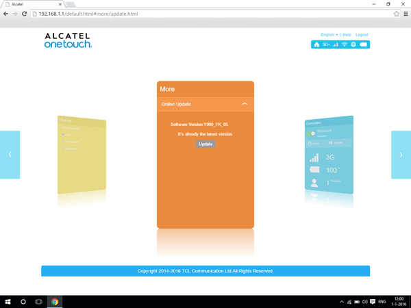 Alcatel MiFi Y900 - Software - Software update - Step 3