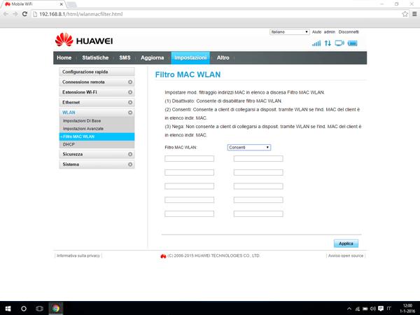 Huawei E5770 - Impostazioni - Abilitare filtro MAC - Fase 6
