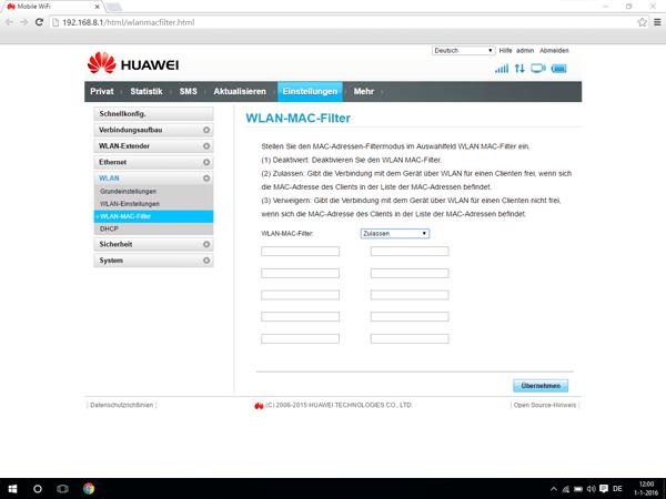 Huawei E5770 - Einstellungen - MAC-Filter aktivieren - Schritt 6