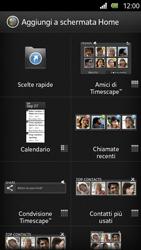 Sony Xperia U - Operazioni iniziali - Installazione di widget e applicazioni nella schermata iniziale - Fase 4