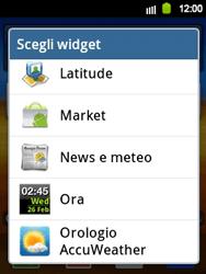 Samsung Galaxy Y - Operazioni iniziali - Installazione di widget e applicazioni nella schermata iniziale - Fase 4