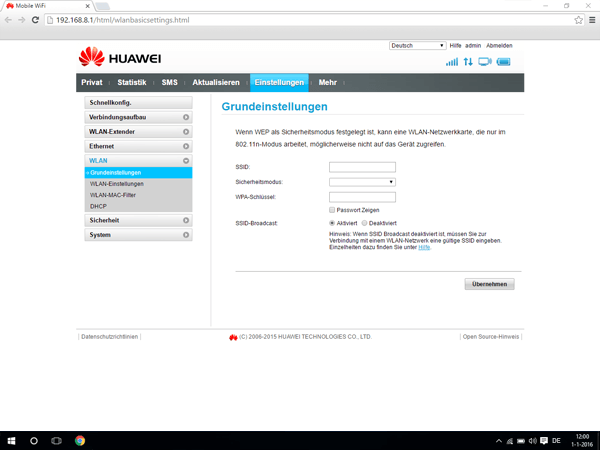 Huawei E5770 - Einstellungen - Netzwerkname und Passwort ändern - Schritt 6