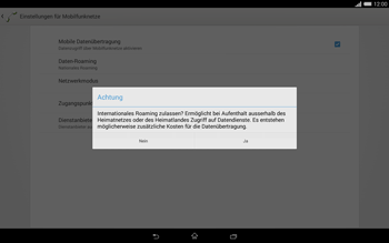 Sony Xperia Tablet Z2 LTE - Ausland - Im Ausland surfen – Datenroaming - 10 / 13