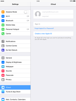 Apple iPad Air - iOS 8 - Applications - Configuring the Apple iCloud Service - Step 4