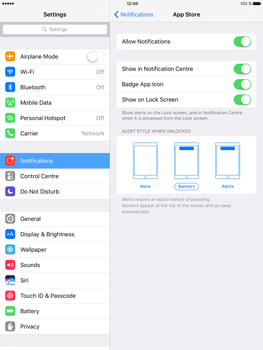 Apple iPad Air 2 iOS 10 - iOS features - Customise notifications - Step 7