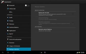 Sony Xperia Tablet Z LTE - Dispositivo - Ripristino delle impostazioni originali - Fase 6