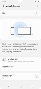 Samsung galaxy-a50-dual-sim-sm-a505fn - WiFi - Mobiele hotspot instellen - Stap 7