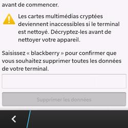 BlackBerry Q10 - Téléphone mobile - Réinitialisation de la configuration d