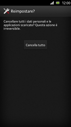 Sony Xperia U - Dispositivo - Ripristino delle impostazioni originali - Fase 8
