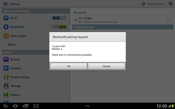 Samsung Galaxy Tab 2 10.1 - Bluetooth - Connecting devices - Step 7