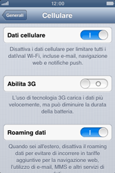 Apple iPhone 3GS - Internet e roaming dati - Disattivazione del roaming dati - Fase 5