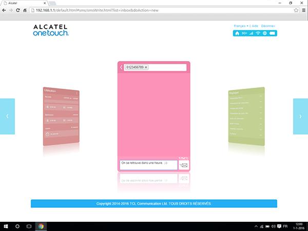 Alcatel MiFi Y900 - Paramètres - envoi de SMS - Étape 5