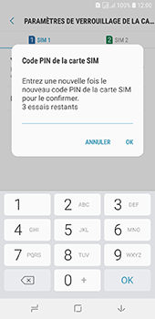 Samsung Galaxy J6 - Sécuriser votre mobile - Personnaliser le code PIN de votre carte SIM - Étape 11