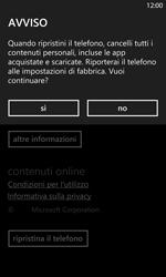 Nokia Lumia 1020 - Dispositivo - Ripristino delle impostazioni originali - Fase 7