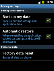 Samsung Galaxy Y - Mobile phone - Resetting to factory settings - Step 5