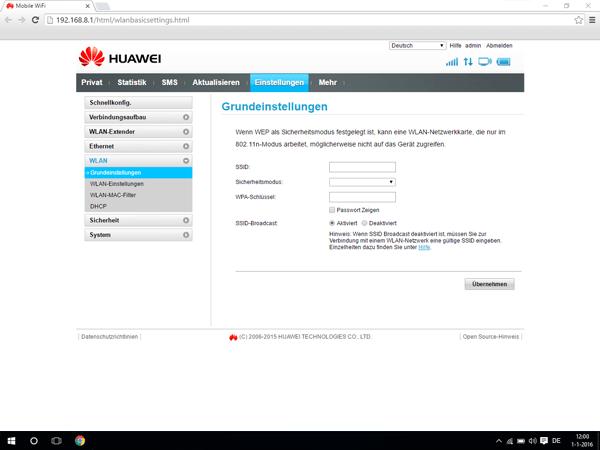 Huawei E5770 - Einstellungen - Netzwerkname und Passwort ändern - Schritt 5