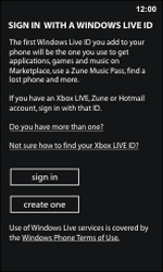 Nokia Lumia 800 / Lumia 900 - Applications - Setting up the application store - Step 10