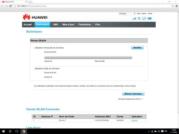 Huawei E5770 - Paramètres - Modifier les paramètres d'utilisation - Étape 6