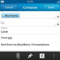 BlackBerry Q10 - E-mail - Sending emails - Step 11
