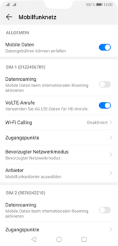 Huawei P20 Pro - Android Pie - Internet und Datenroaming - Prüfen, ob Datenkonnektivität aktiviert ist - Schritt 6