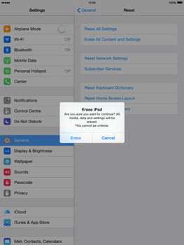 Apple iPad mini 2 - iOS 8 - Mobile phone - Resetting to factory settings - Step 7