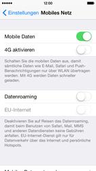 Apple iPhone 5s iOS 8 - Internet und Datenroaming - Prüfen, ob Datenkonnektivität aktiviert ist - Schritt 5