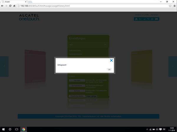 Alcatel MiFi Y900 - Einstellungen - So setzen Sie das Modem zurück - Schritt 5