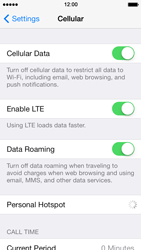 Apple iPhone 5 iOS 7 - Internet and data roaming - Disabling data roaming - Step 4
