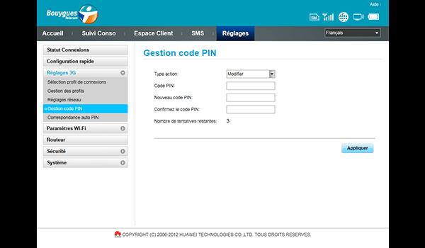 Huawei E587 - Sécuriser votre mobile - Personnaliser le code PIN - Étape 9