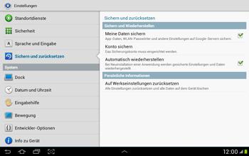 Samsung Galaxy Tab 2 10.1 - Gerät - Zurücksetzen auf die Werkseinstellungen - Schritt 5