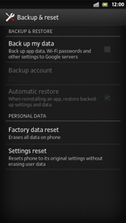 Sony Xperia S - Mobile phone - Resetting to factory settings - Step 5