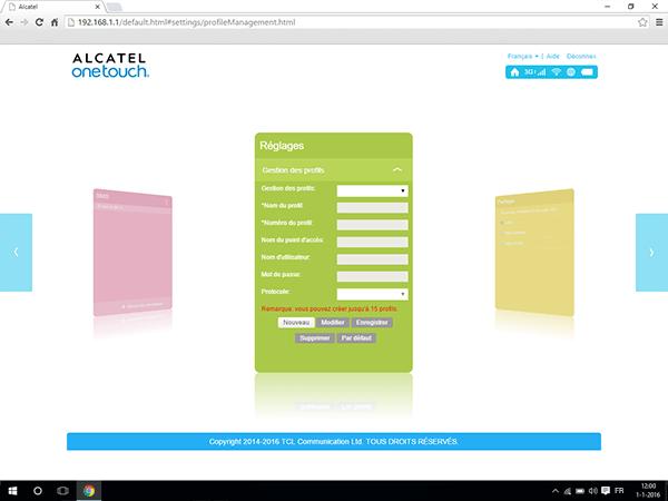 Alcatel MiFi Y900 - Paramètres - Afficher les paramètres d'opérateur - Étape 4