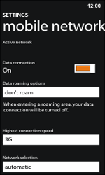 Nokia Lumia 800 / Lumia 900 - Internet and data roaming - Disabling data roaming - Step 7