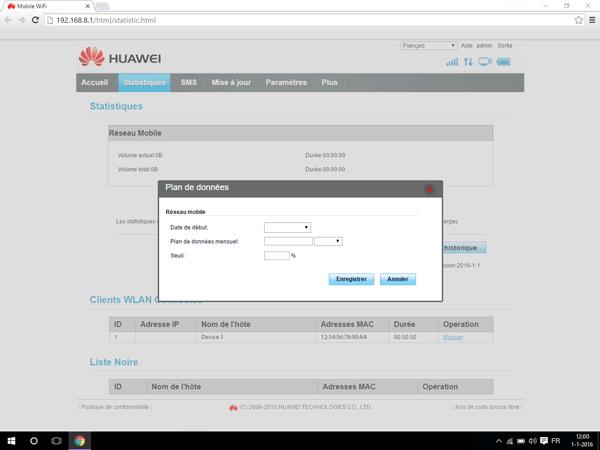 Huawei E5770 - Paramètres - Modifier les paramètres d'utilisation - Étape 3