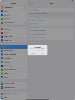 Apple iPad Pro 12.9 (2nd gen) - iPadOS 13 - Mobile phone - Resetting to factory settings - Step 6