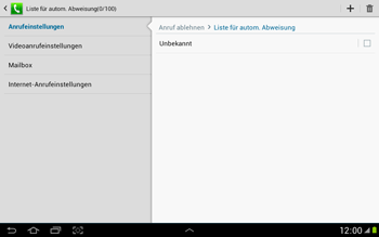 Samsung N8000 Galaxy Note 10-1 - Anrufe - Anrufe blockieren - Schritt 8