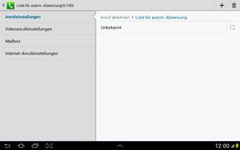 Samsung Galaxy Note 10-1 - Anrufe - Anrufe blockieren - 8 / 14