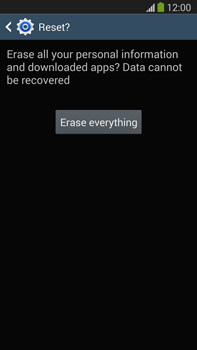 Samsung Galaxy Note III LTE - Mobile phone - Resetting to factory settings - Step 8