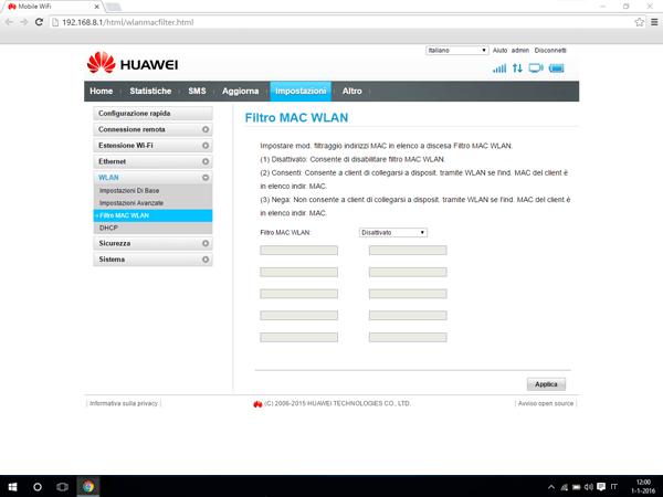 Huawei E5770 - Impostazioni - Abilitare filtro MAC - Fase 5