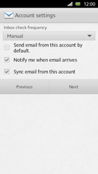 Sony Xperia U - E-mail - Manual configuration - Step 13